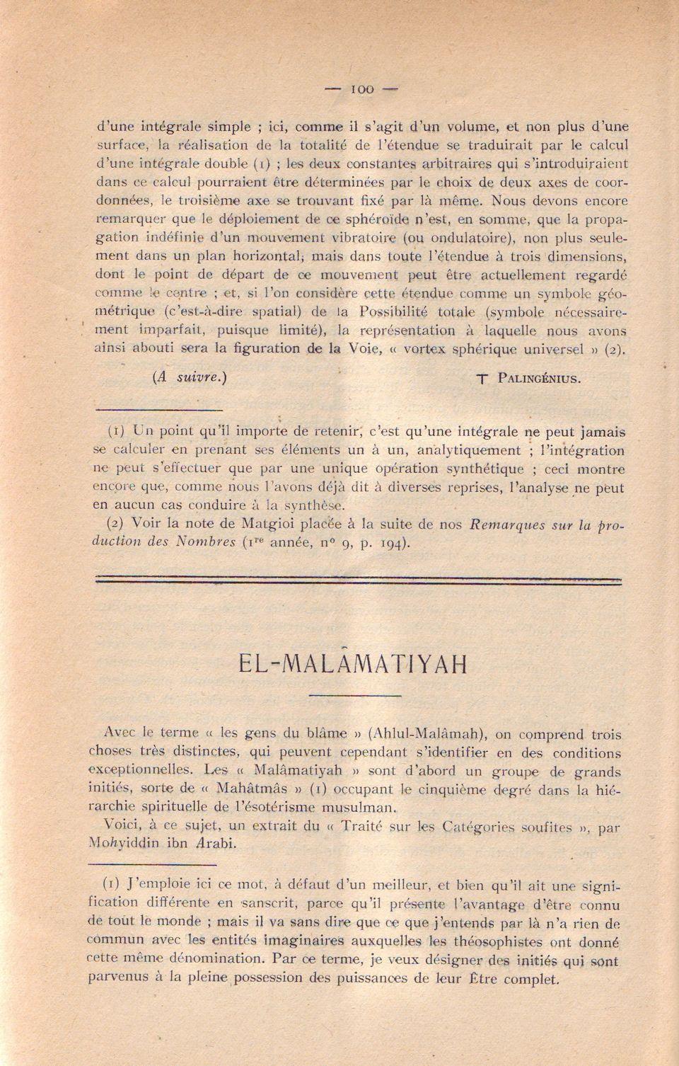 El-Malâmatiyah 1. 100