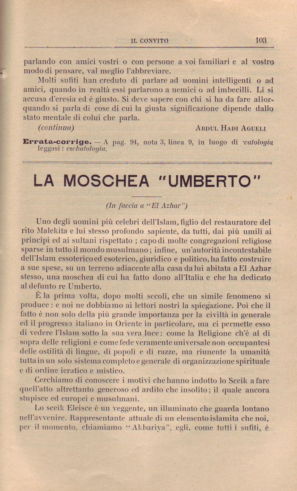 La Moschea Umberto 1. 103